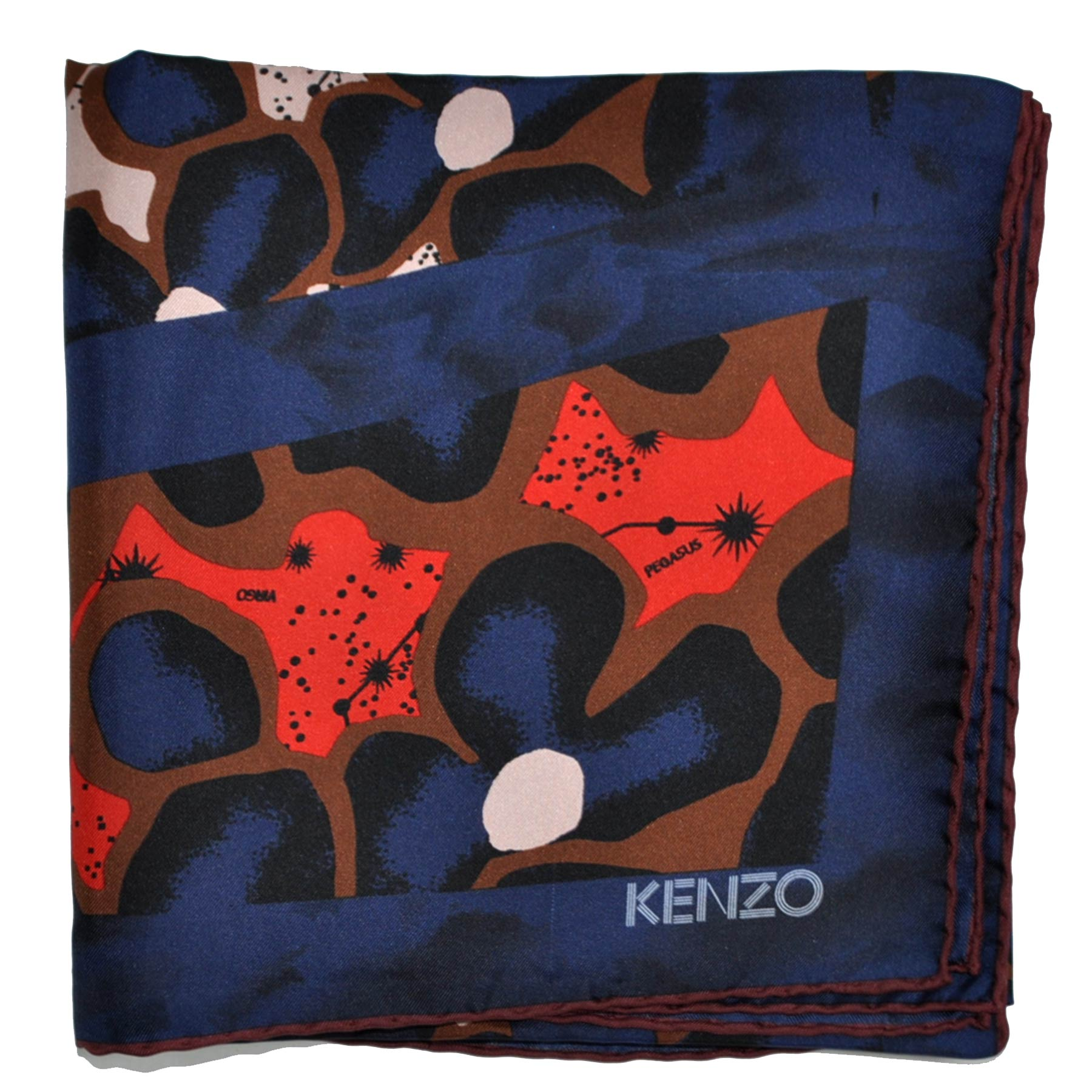 Kenzo Scarf Lapis Blue Brown Orange Design