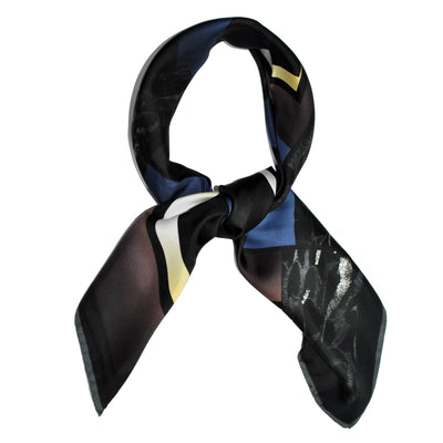 Kenzo Scarf Black Navy Gray Design - Large Twill Silk Square Scarf FINAL SALE