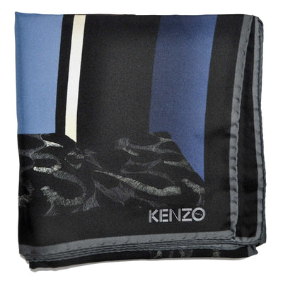 Kenzo Scarf Black Navy Gray Signature Design