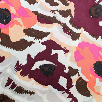 Kenzo Scarf Maroon Gray Pink Floral Design - Large Twill Silk Square Scarf SALE