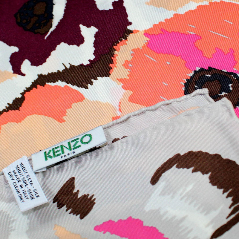 Kenzo Scarf Maroon Gray Floral Design