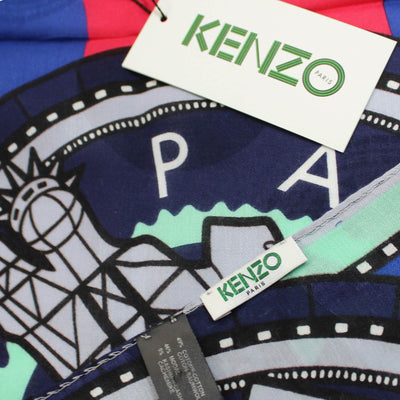Kenzo Scarf Signature Dots & Logo Design Cotton Cashmere Shawl SALE