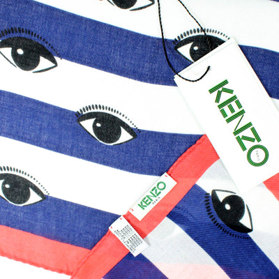 Kenzo scarf with a signature white navy striped eyes all over