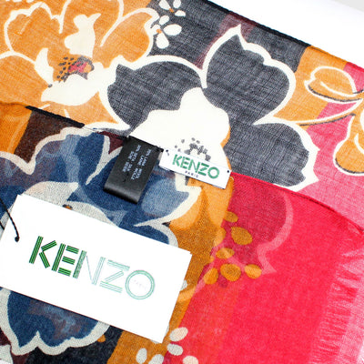 Kenzo Scarf Mustard Floral Design