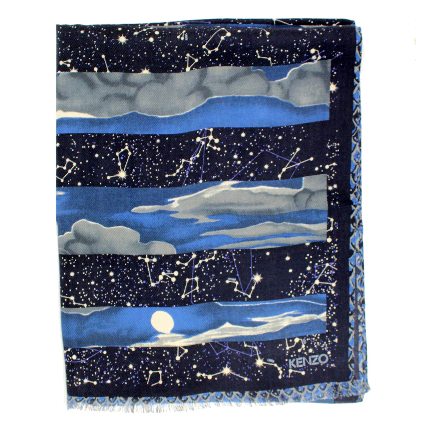 Kenzo Scarf Midnight Blue Horoscope - Wool Silk Shawl SALE