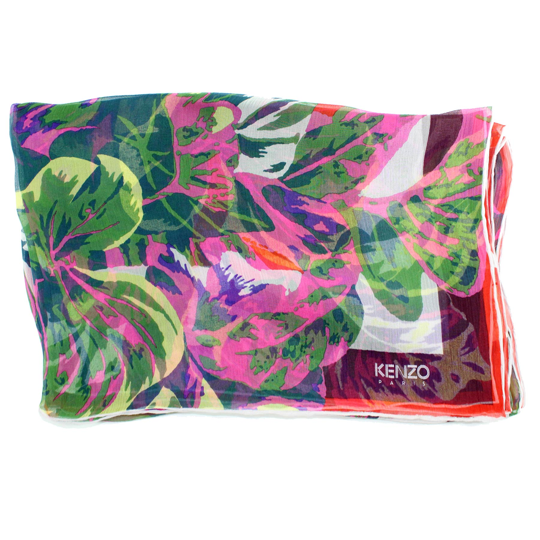 Kenzo Scarf Pink Green Floral - Extra Large Square Chiffon Silk Wrap