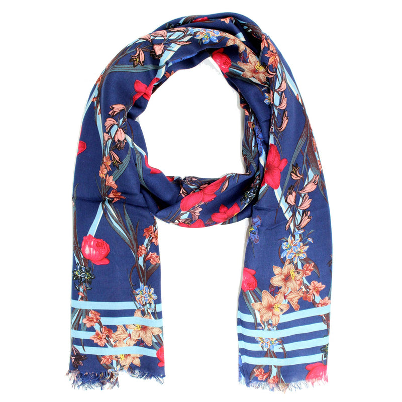Kenzo Scarf Navy Floral Designs Cashmere Shawl
