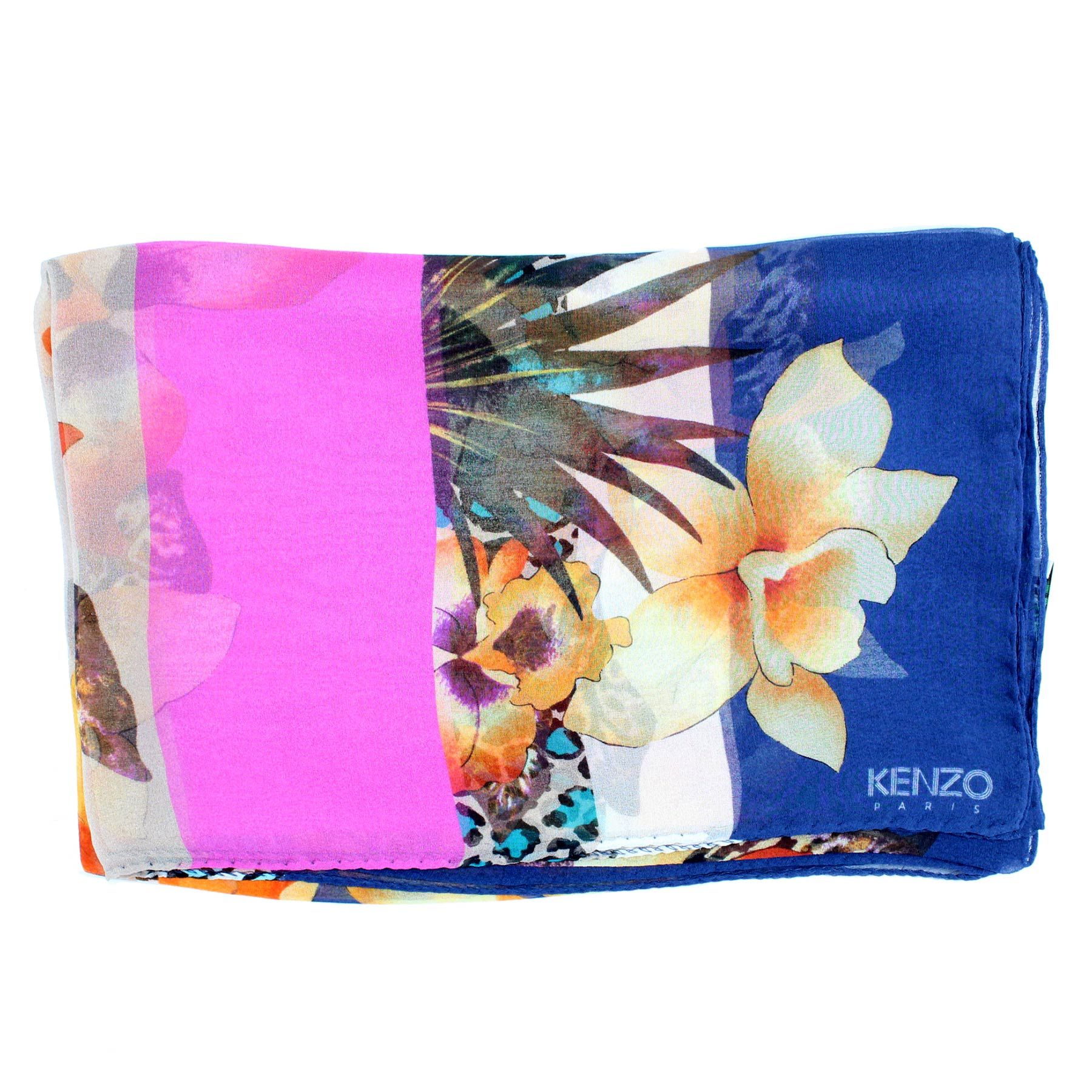 Kenzo Scarf Lapis Blue Orange Pink Chiffon Silk Shawl