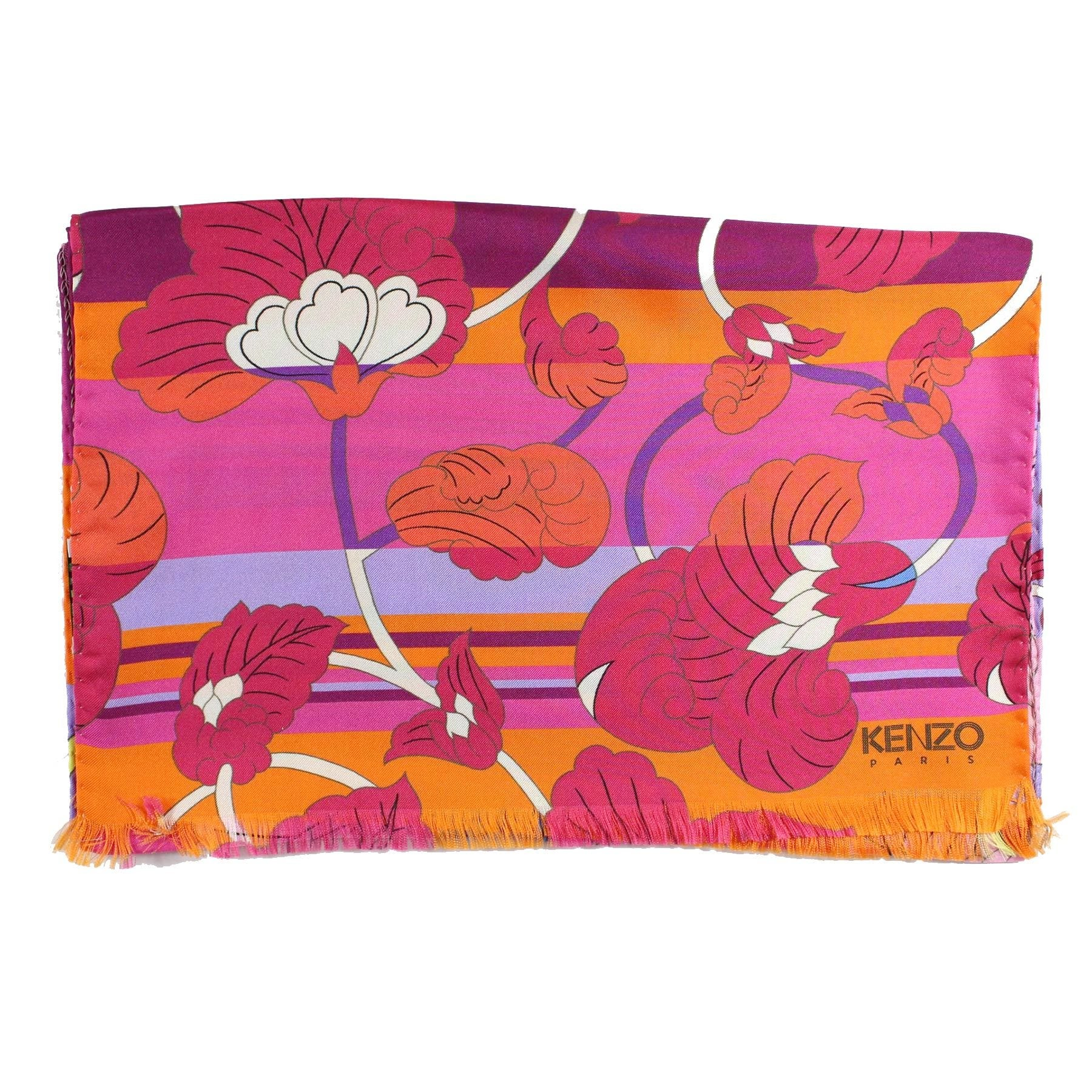 Kenzo Scarf Orange Purple Pink Flowers - Twill Silk Shawl