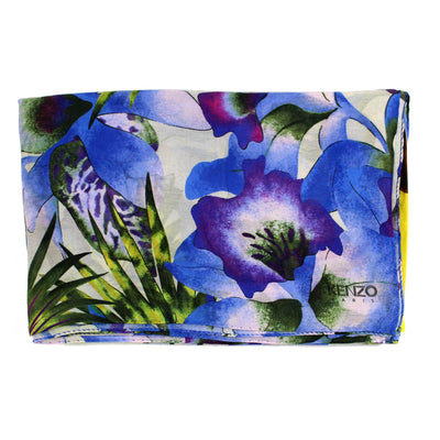 Kenzo Scarf Floral & Elephant - Extra Large Square Modal Silk REDUCED - FINAL SALE