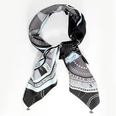 Kenzo Scarf Black Gray Tiger - Large Silk Square Scarf FINAL SALE