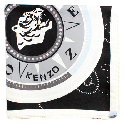 Kenzo Scarf Black Gray Tiger - Large Silk Square Scarf