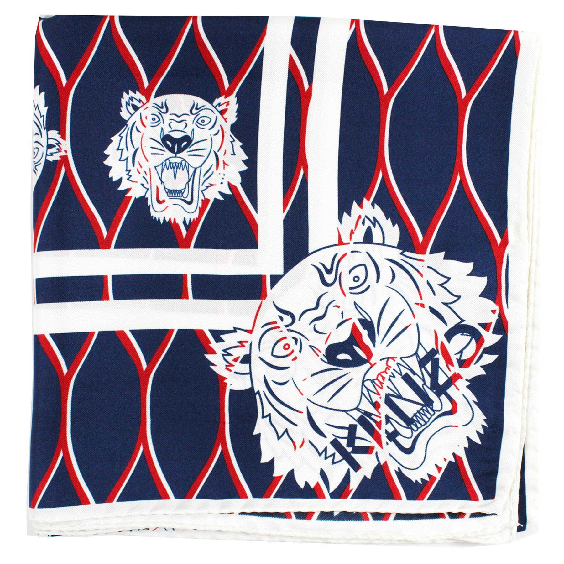 Kenzo Scarf Navy Red Logo & Tiger Design