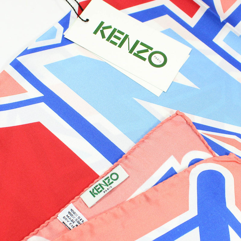 Kenzo Scarf Pink Blue Design - Large Silk Square Scarf