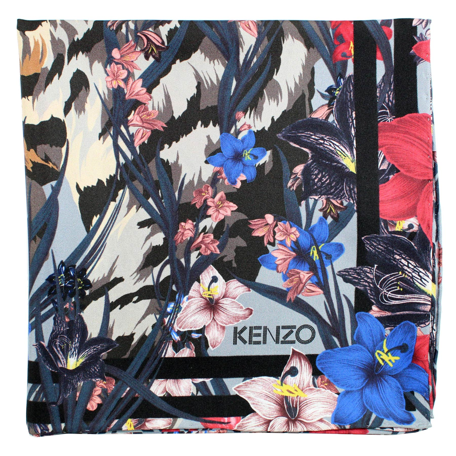 Kenzo Scarf Gray Flowers - Large Silk Square Scarf