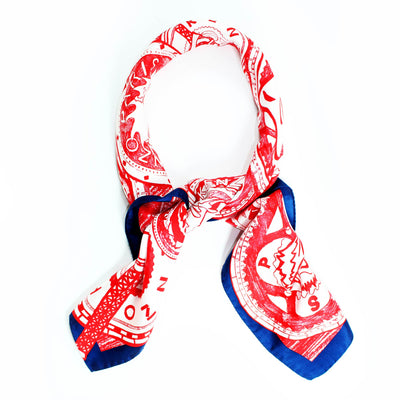Kenzo Scarf Red White Gray Tiger Eiffel Tower