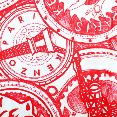 Kenzo Scarf Red White Tiger Eiffel Tower