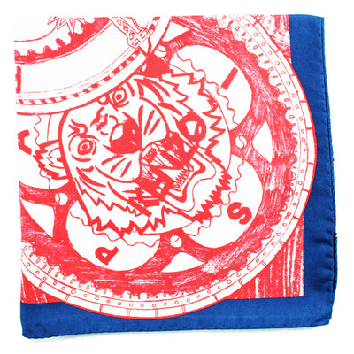 Kenzo Scarf Red White Navy Tiger Eiffel Tower - Large Silk Square Scarf FINAL SALE