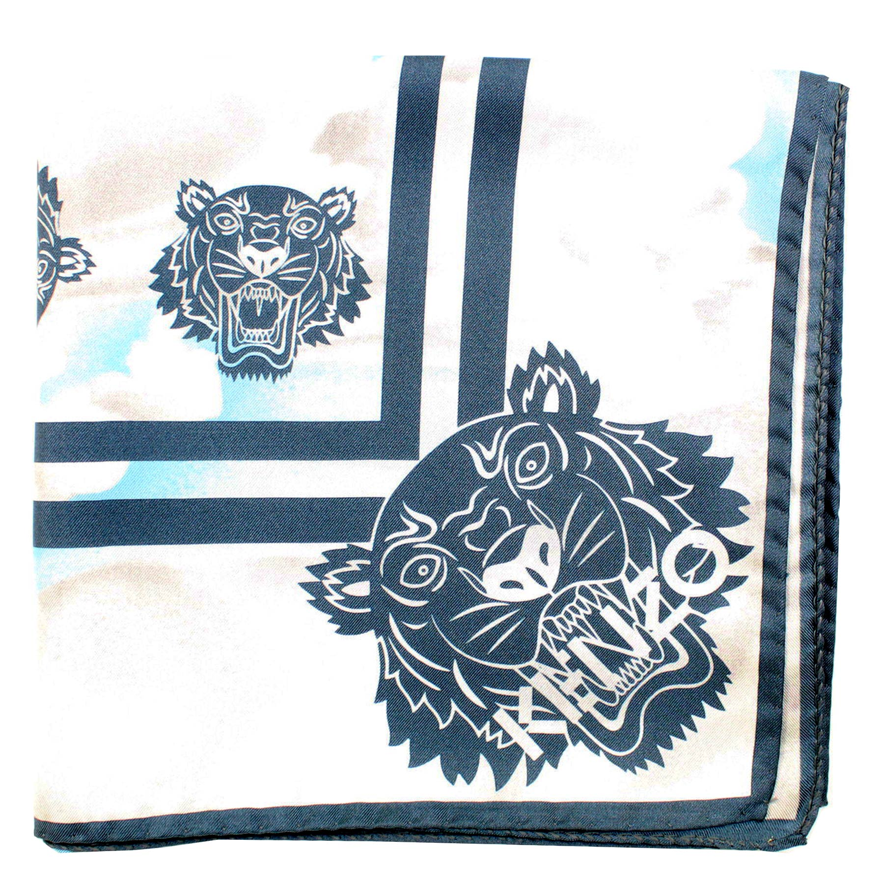 Kenzo Scarf Sky Blue Clouds Tigers - Large Twill Silk Square Scarf