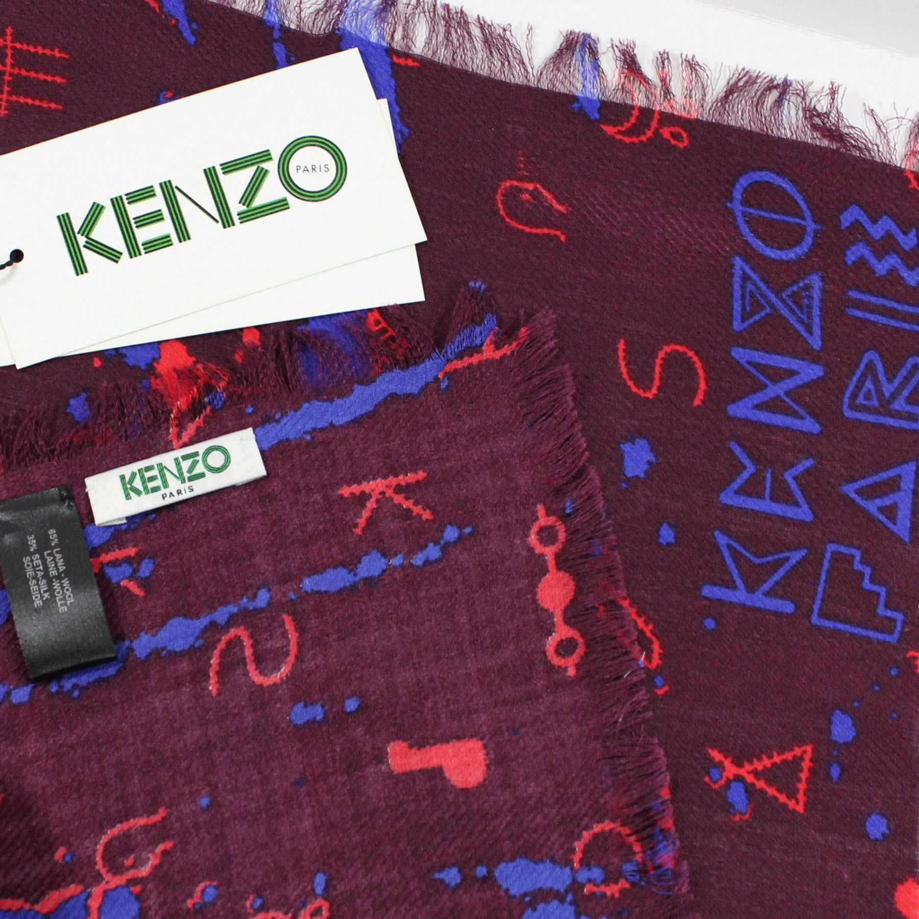 Kenzo Scarf Royal Blue Maroon Red - Silk Square Scarf FINAL SALE
