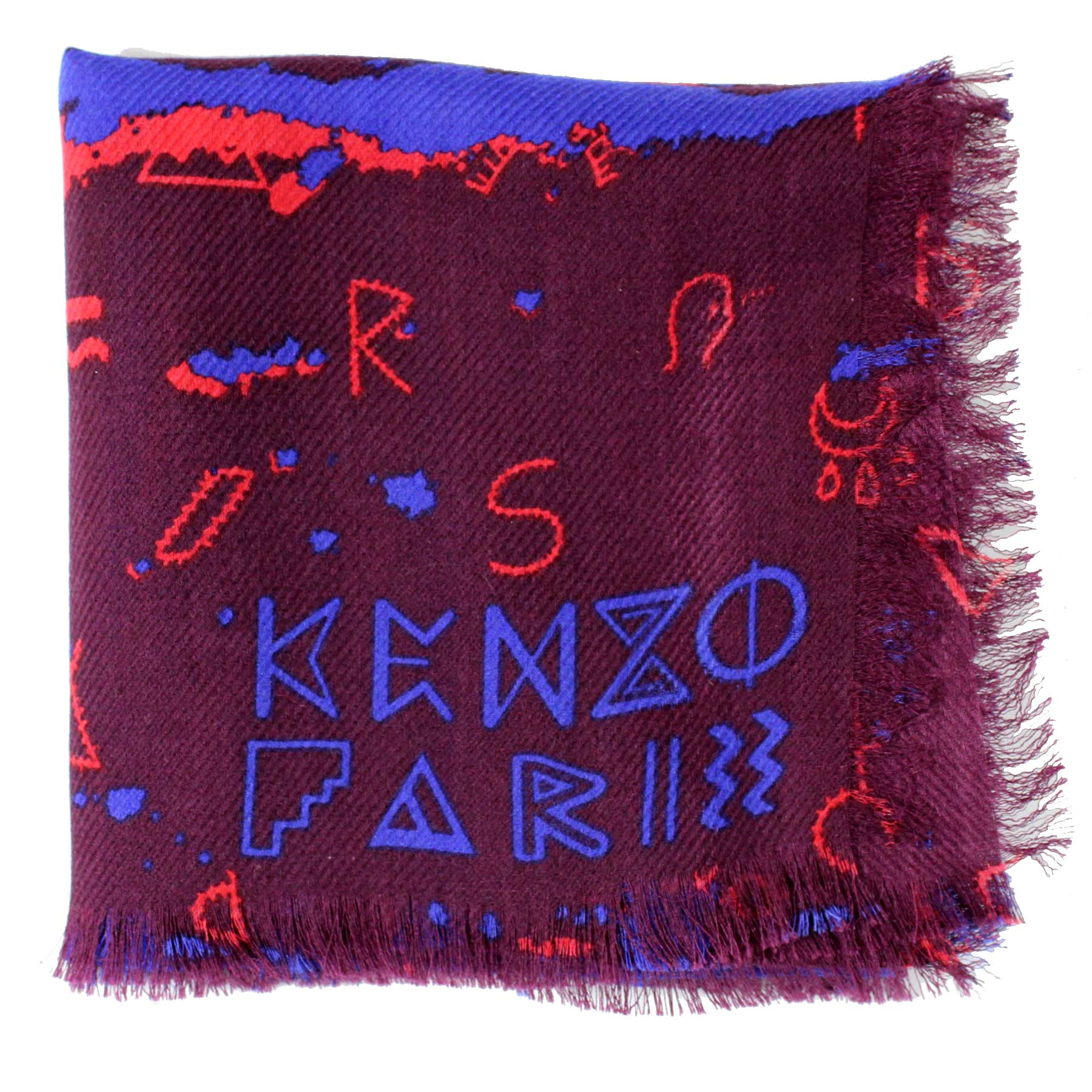 Kenzo Scarf Purple Red Royal Blue Letter Swirl - Wool Silk Medium Square Scarf SALE