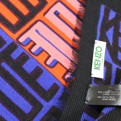 Kenzo Scarf Royal Blue Pink Orange - Extra Large Square Modal Silk Wrap SALE
