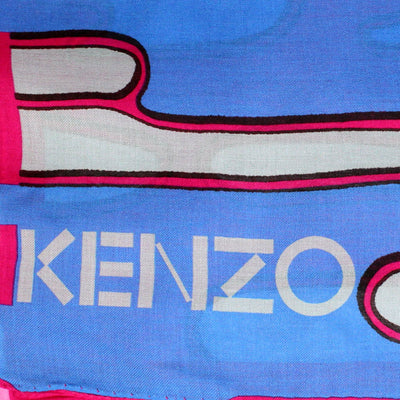 Kenzo Women Scarf Pink Gray Royal Blue