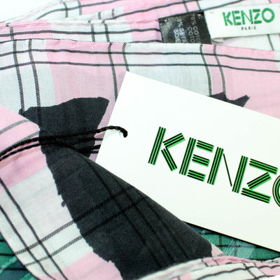 Kenzo Scarf Green Pink Design - Extra Large Wool Blend Wrap