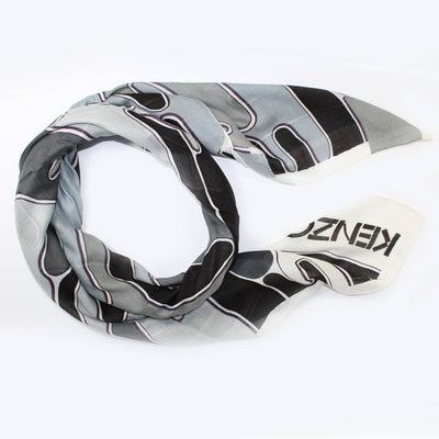 Kenzo Scarf Black Gray White - Extra Large Square Wool Wrap