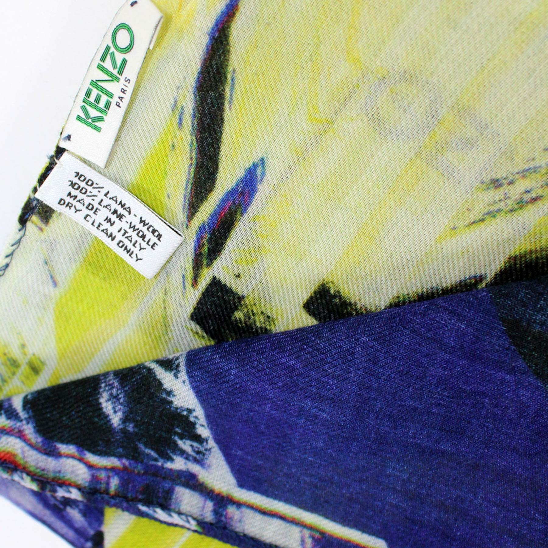 Kenzo Scarf Royal Blue Lime Design - Wool Shawl SALE