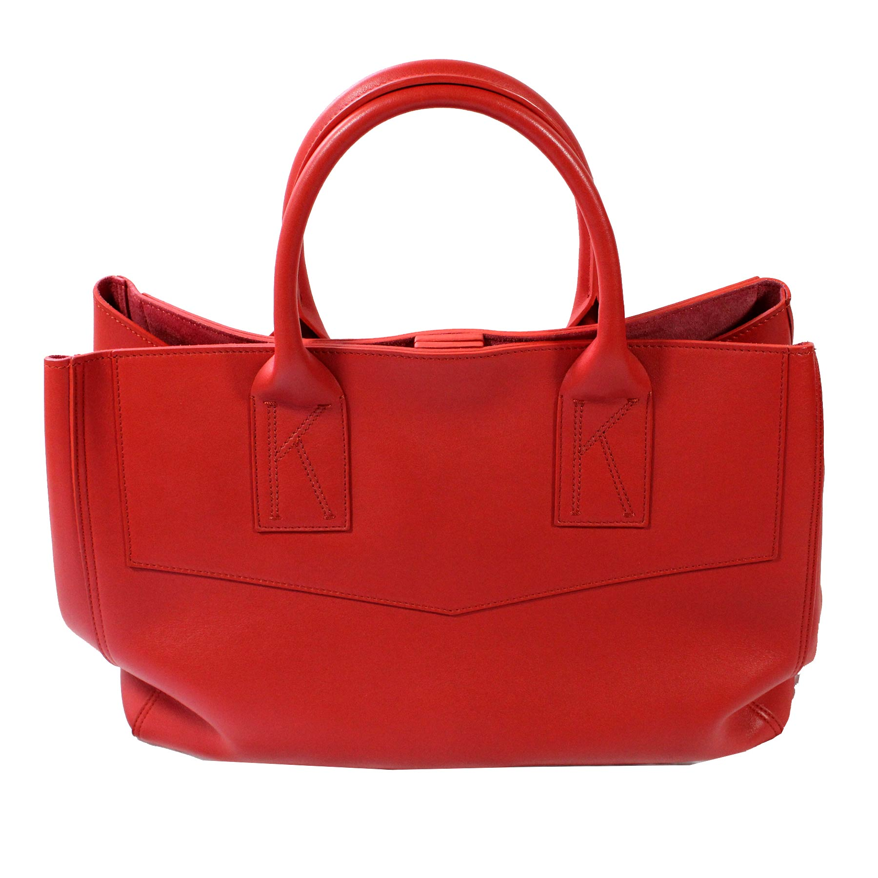 Kiton Handbag Red Leather Tote With Purse