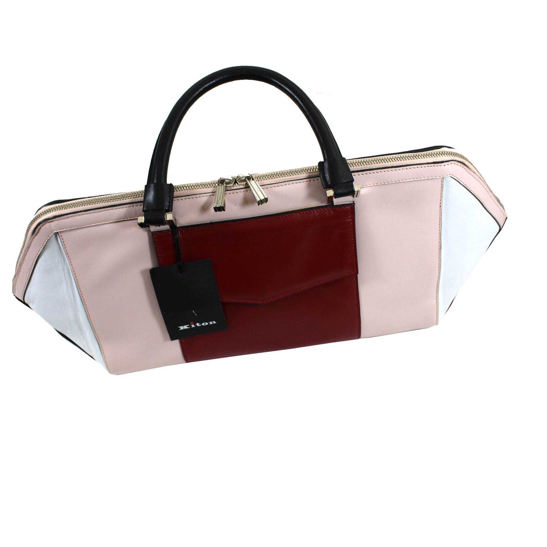 Kiton Handbag White Pink Red Leather Luxury Bag SALE