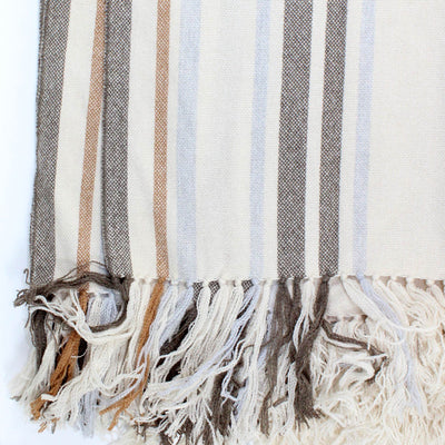 Kiton Poncho White Stripes Large Cashmere