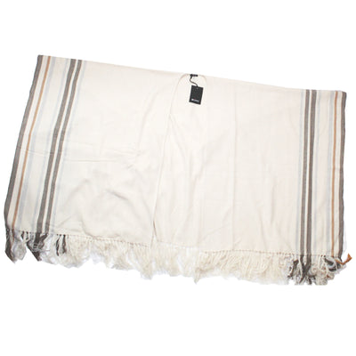 Kiton Poncho White Stripes Large Cashmere Women Wrap SALE