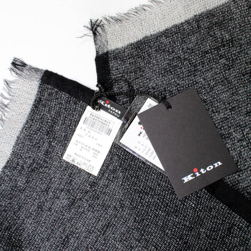 Kiton Scarf Gray Black Extra Large Cashmere Silk Wrap