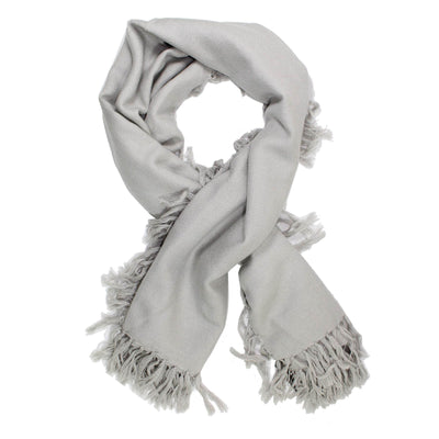 Kiton Cashmere Silk Scarf Light Gray - Large Square Wrap With Tassels SALE