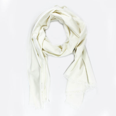 Kiton Scarf Solid White - Wool Women Shawl