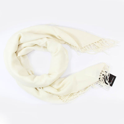 Kiton Cashmere Silk Scarf White - Extra Large Square Wrap With Tassels SALE