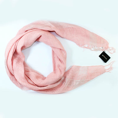 Kiton Linen Scarf Light Pink - Extra Large Square Wrap With Tassels SALE