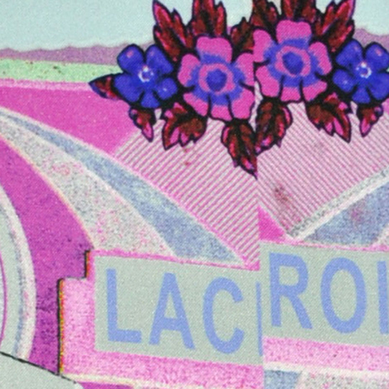 Christian Lacroix Scarf Gray Pink Signature Print - Twill Silk Square Scarf