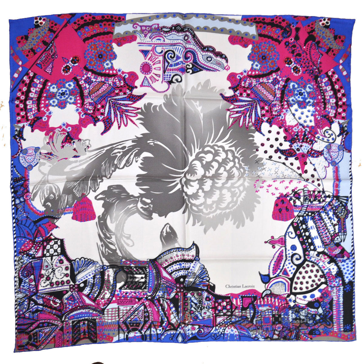 Christian Lacroix Silk Square Scarf Royal Blue Fuchsia Print