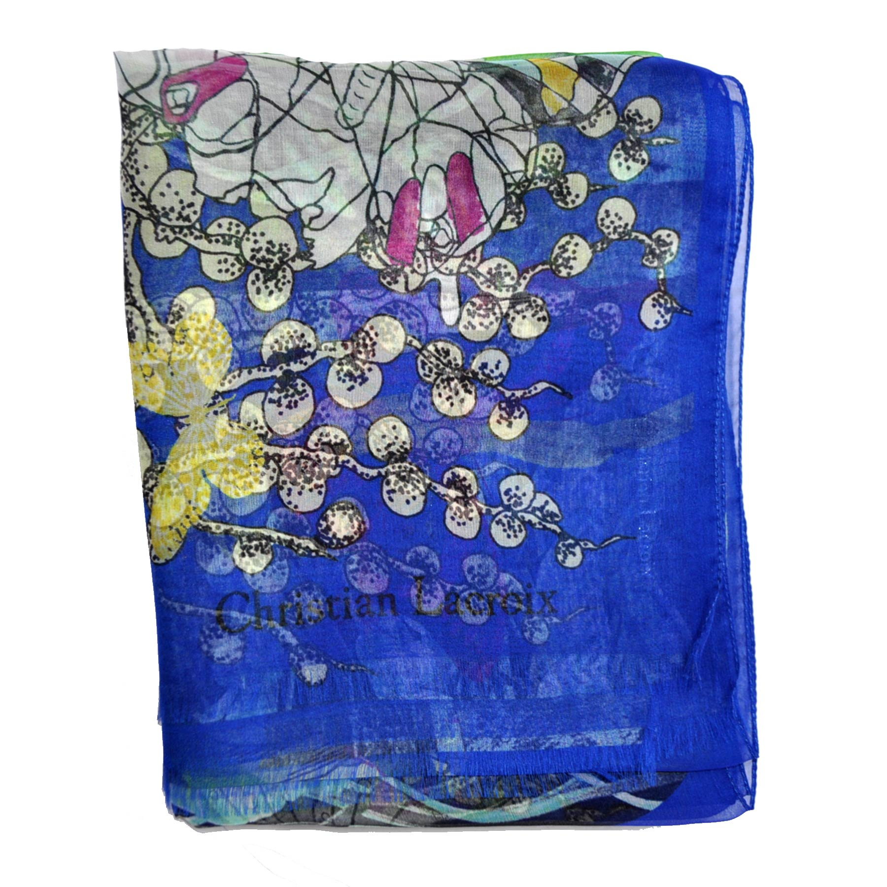 Christian Lacroix Scarf Royal Blue Green Floral - Chiffon Silk Shawl