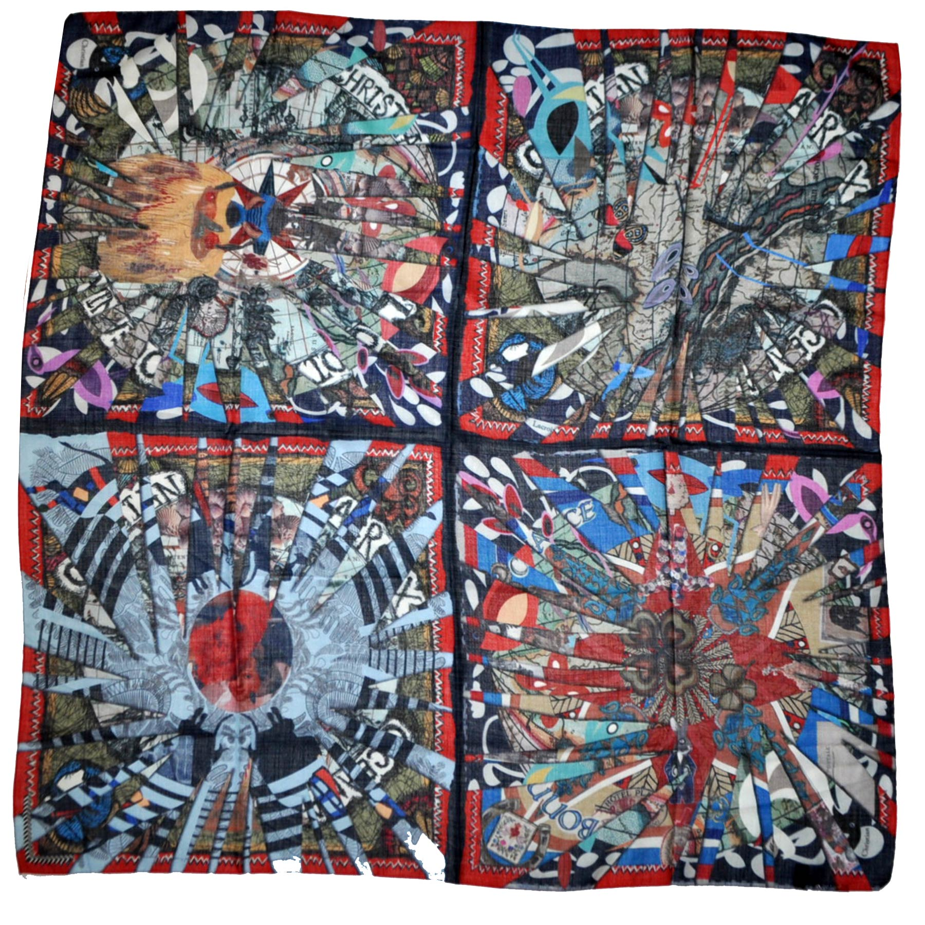 Christian Lacroix Scarf Signature Extra Large Wool Silk Square Wrap FINAL SALE