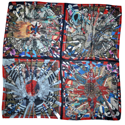 Christian Lacroix Scarf Signature Extra Large Wool Silk Square Scarf SALE