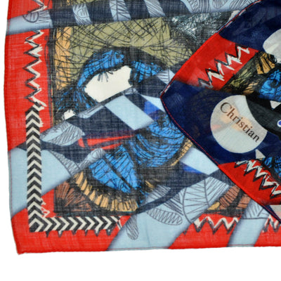 Christian Lacroix Scarf Signature Extra Large Wool Silk Square Scarf