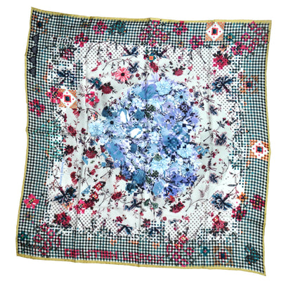 Christian Lacroix Scarf Floral & Check Design - Large Twill Silk Square Scarf