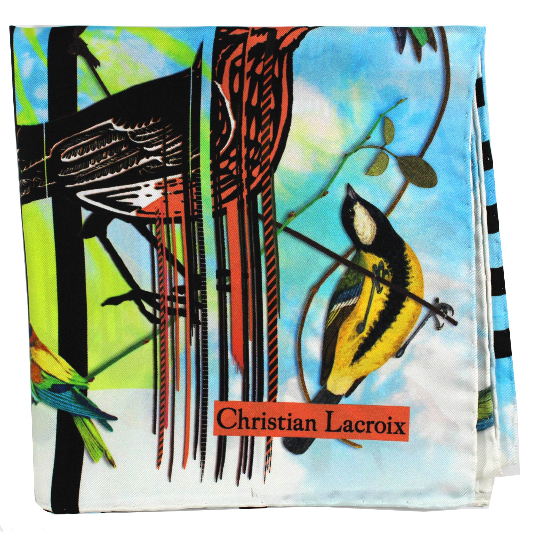 Christian Lacroix Scarf Birds Design - Large Twill Silk Square Scarf