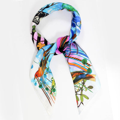 Christian Lacroix Scarf Birds Design - Large Twill Silk Square Scarf SALE