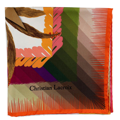 Christian Lacroix Scarf Brown Green Pink Design - Large Twill Silk Square Scarf