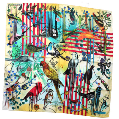 Christian Lacroix Scarf Birds & Stripes Design - Large Twill Silk Square Scarf